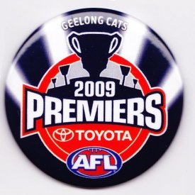 2009 Geelong Cats AFL Premiers SS Button Badge