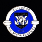 2012 Canterbury Bankstown Bulldogs NRL Minor Premiers Pin Badge bw