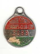 1982 South Sydney Leagues Club Member Badge