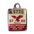1987-88 Manly Warringah Leagues Club Associate Member Badge