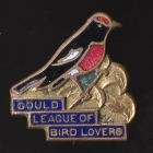 1955 Gould League of Bird Lovers Victoria Red-Capped Robin Badge Pin SHFa