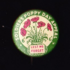 Soldiers Poppy Day Button Badge 22mm 6d