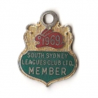1969 South Sydney Leagues Club Member Badge