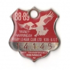 1988-89 Manly Warringah Leagues Club Member Badge