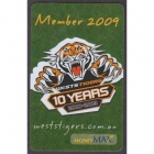 2009 Wests Tigers NRL Member Card