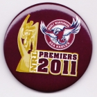 2011 Manly Warringah Sea Eagles NRL Premiers SS Button Badge